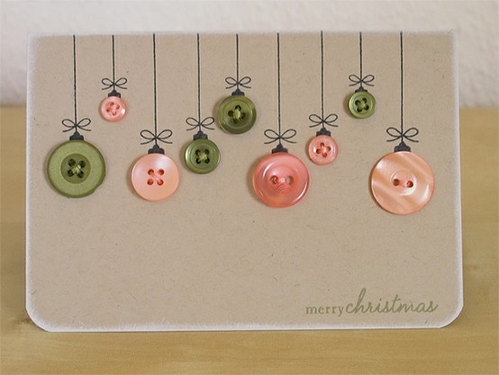 Tenth- These Christmas cards are so easy! Old buttons and a sharpie ...